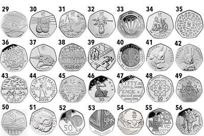 Rare 50p coins, 1988-2016, Great Prices!