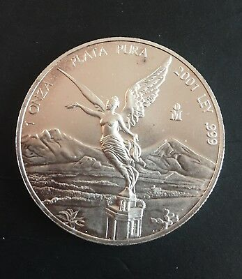 2001 Mexico 1oz .999 Silver Libertad Onza Lustrous BU Low Mintage Minor Toning