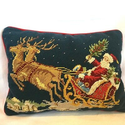 "Classic Christmas Needlepoint Pillow Santa Sleigh Red Velveteen Back 12"" X 16"""
