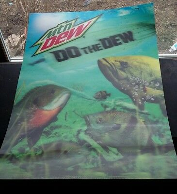 Vintage Mountain Dew Nostalgic 3-D Fish Stand Up Advertising Sign