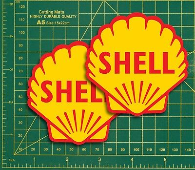 """Shell Clams Logo Replica Rally Touring Car STICKER 3"""" Pair Race vintage Classic"""