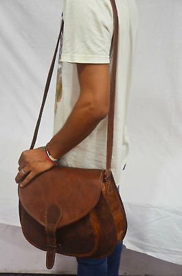 S to XL New Women Vintage Brown Leather Messenger Cross Body Bag Handmade Purse