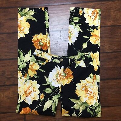 St John Sport Jeans Size 2 Womens Floral Pants Black Yellow Stretch Peony Flower