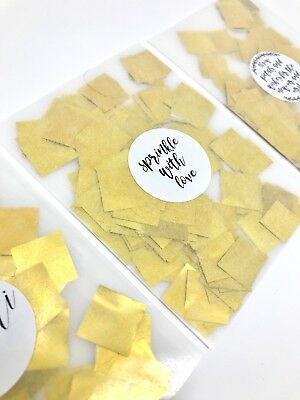 GOLD Foil Wedding Confetti Packets Flutterfall Throwing Confetti Bag + Sticker