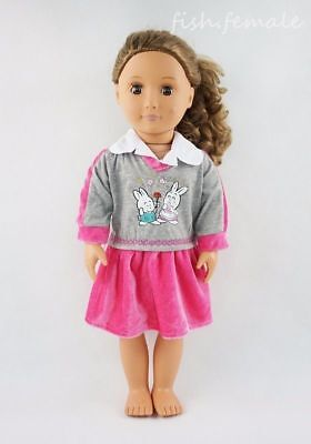 Pink School Uniform Skirt Dress Fit For 18'' American Girl Gift Doll Clothes New