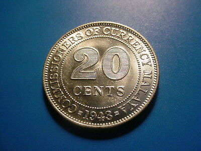 Malaya - Silver -1943 20-Cents In Brilliant Uncirculated Condition