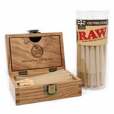 RAW Classic King Size Pre-Rolled Cones Bundle (50 Pack with Storage Box)