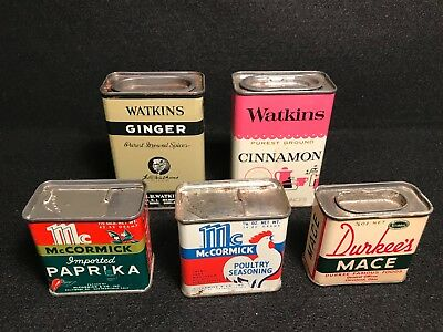 Vintage TIN LITHO Spice Containers, One Lot of 5