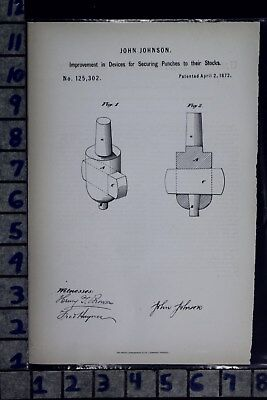 1872 Johnson New York Punch Securing Device Boiler Plate Patent Litho 125302