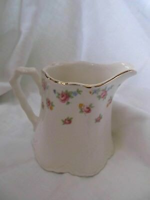Vintage  W.s. George Radisson  Gold Trimmed Rose Covered Pitcher/ Creamer 3 1/4""