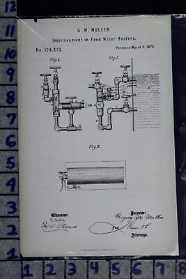 1872 Mullen Coyne Baltimore Md Feed Water Heater Boiler Patent Litho 124373