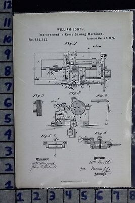 1872 Booth College Point Ny Comb Sawing Machine Industrial Patent Litho 124243