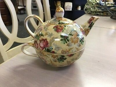 Fine Porcelain-Teapot & Cup Combined-Skye McGhie-Conservatory Wild Rose Pattern-