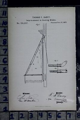 1872 Darcy New York Awning Slide Industrial Architectural Patent Litho 124037