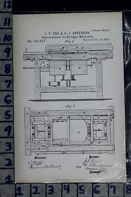 1872 Gue Anderson North Western Ny Shingle Machine Roofing Patent Litho 124057