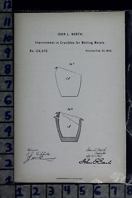 1872 North Ansonia Ct Metal Melting Crucible Industrial Patent Litho 124076