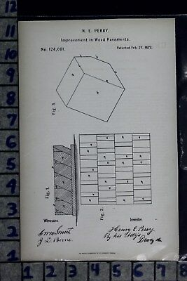 1872 Perry San Francisco Ca Wood Pavement Road Construction Patent Litho 124081