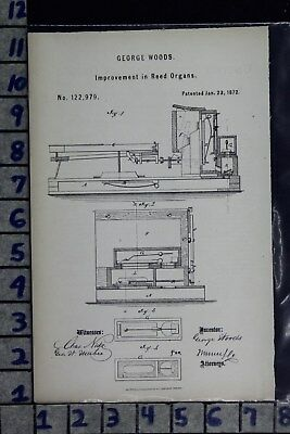 1872 Woods Cambridgeport Ma Reed Organ Music Instrument Patent Litho 122979