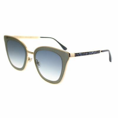 ce47bdddfd1 Jimmy Choo Lory KY2 Blue Gold Metal Cat-Eye Sunglasses Blue Mirror Gradient  Lens