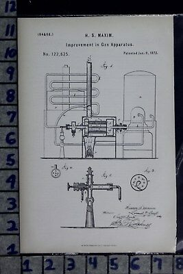 1872 Maxim Strong Brooklyn Ny Gas Machine Industrial Patent Litho 122625