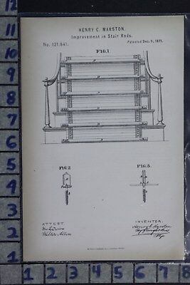 1871 Marston Brooks New York Stair Rod Construction Home Patent Litho 121641