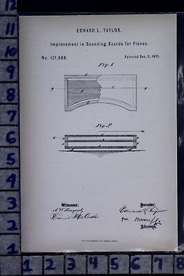 1871 Taylor Jersey City Heights Nj Piano Sound Board Music Patent Litho 121686