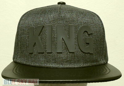 King Rubber 5-Panel Baseball Hip Hop Trendy Cap Hat Snapback Gray Faux  Leather 7c61f7a0a712