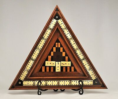 Early Victorian Antique Inlaid Marquetry Cribbage Board in a Triangle Circa 1900
