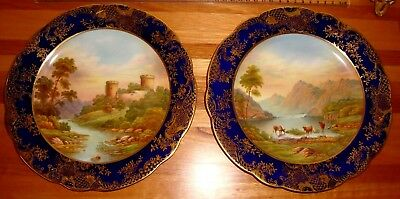 Aynesley Cabinet Plates Hand Painted Signed G,bentley