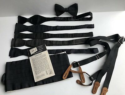 Lot of 8 Vintage Black Formal Pcs, 6 Bow Ties, 1 Cummerbund, 1 Suspenders, Silk
