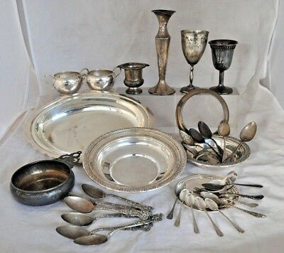 Lot of Solid Sterling Silver 1683 grams Scrap or Use Spoons Bowls Chalices