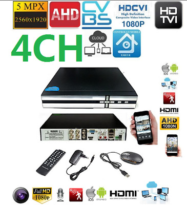 XVR DVR 5in1 AHD CVI TVI CVBS IP 4 CANALI UTC FULL HD 1080N P2P CLOUD HDMI WIFI