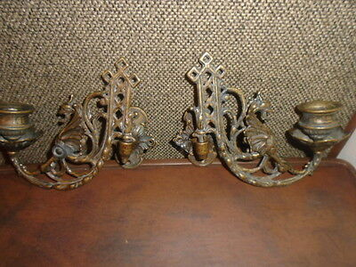 Bronze  Vict. Style Gothic Griffin Dragon Gargoyle Wall Mounted Candle  Holders