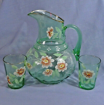 Antique Large Green Glass Lemonade Pitcher & Two Glasses Handpainted Flowers