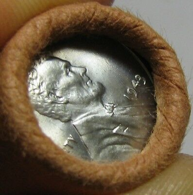1943 P Obw Original Bank Wrapped Roll Bu Uncirculated Lincoln Wheat Cent Pennies