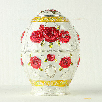Chinese Cloisonne Handmade Carved Red Rose Flower Toothpick Box JTL3050