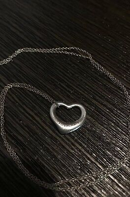 Tiffany & Co Elsa Peretti Open Heart Sterling Silver 925 Necklace and Charm