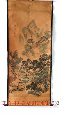 Old Scroll Chinese Ink And Wash Painting/Hill, Tree, House & People  ZH1003
