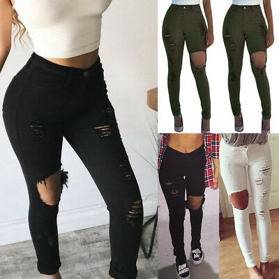 US STOCK Women Pencil Stretch Casual Ripped Hole Jeans Pants High Waist Trousers