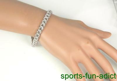 1.98ct Diamond Eternity 10K White Gold Tennis S Link Bracelet (M) Signed