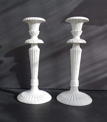 "Pair Of Classic Vintage White Candlestick - Made In Italy - 11 1/2"" Tall"