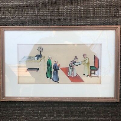 ANTIQUE Chinese PAINTING  COURT SCENE on rice or pith paper