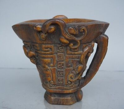 Chinese Exquisite Hand-carved brave troops carving OX Horn cup