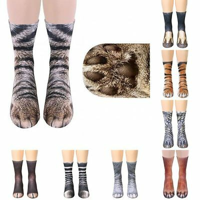 Trendy 3D Animal Print Sock Women Unisex Adult Kids Paw Crew Funny Cotton Socks