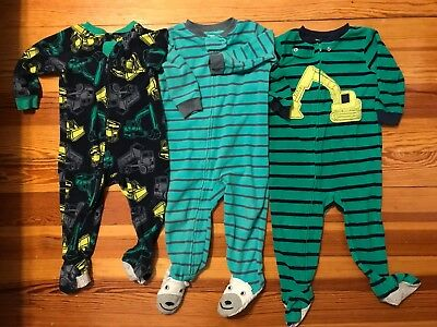 Baby Boy Carters Carter's Lot Of 3 Fleece Footed Sleepers Pajamas 18 Months