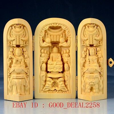 Chinese Boxwood Hand Carved Three Gods Folding Box FK03