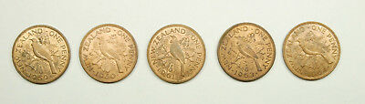 Lot of Five New Zealand 1 Penny Coins - 1959 1960 1961 1963 1964