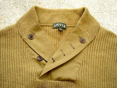 Orvis Shawl collar Pullover sweater fisherman elbow patches