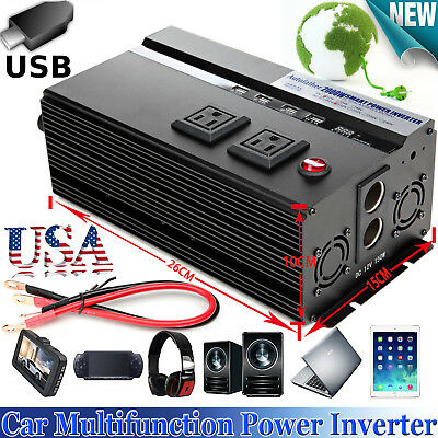 2000Watt 4000PEAK DC 12V AC 110V Car Power Inverter Electronic Charger Converter