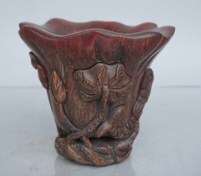 Chinese Exquisite Hand-carved Lotus fish carving OX Horn cup